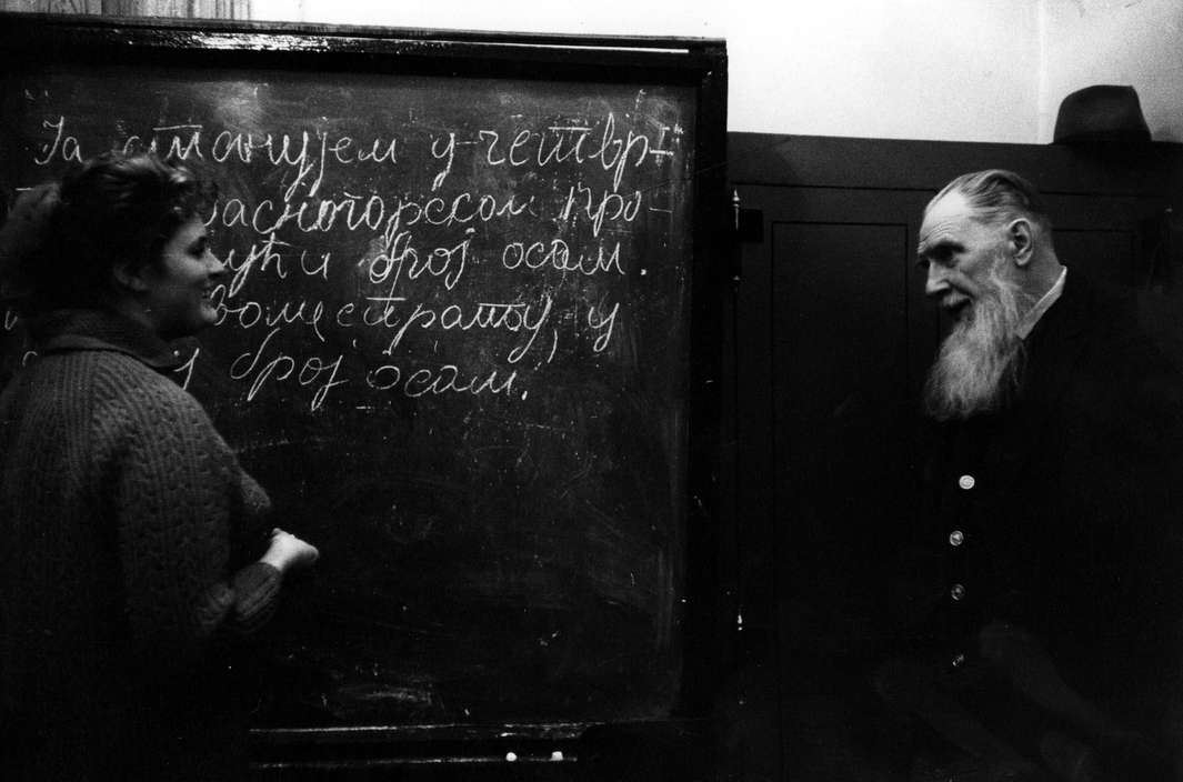 USSR. Ilya Ilych Tolstoy, eldest surviving grandson of Leo Tolstoy. He teaches a second year class in Serbo-Croatian at Moscow University. 1966.