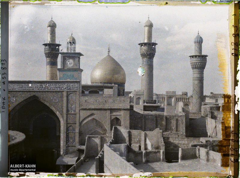 Mosquée funéraire d'Husayn (Hussein) (début XIXe siècle), Kerbela, Irak, 13 avril 1927, (Autochrome, 9 x 12 cm), Frédéric Gadmer, Département des Hauts-de-Seine, musée Albert-Kahn, Archives de la Planète, A 53 813 S